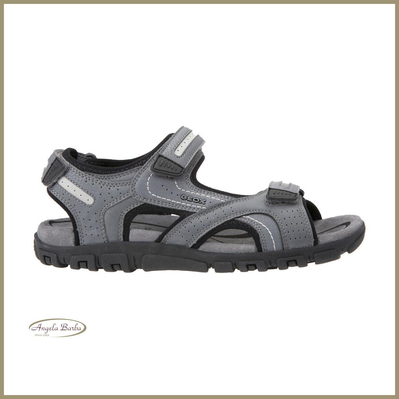 Geox Sandals Men's Leather Suede Trekking Adjustable Summer Shoes Grey