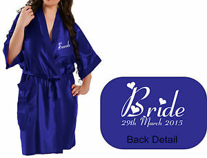 real quality drop shipping finest selection Details about Personalised Wedding Bridal Satin Robe Gown in ROYAL BLUE  satin Party / Gift Bag