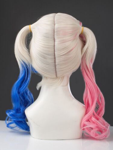 Suicide Squad Harley Quinn Deluxe Costume Wig Red /& Blue Pigtails PRIORITY SHIP
