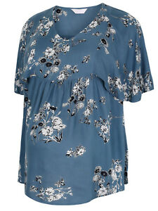 NEW-Bump-It-Up-BLUE-Floral-Cape-Sleeve-Maternity-Top-16-18-20-22-24-26-28-30-32