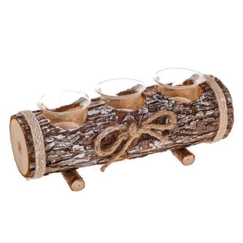 Rustic Wood Tealight Holder Triple Log or Round Bark T Light Candle Holders