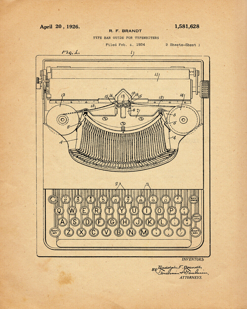 8737.Decorative Poster.Home interior wall design.Invention patent.Typewriter