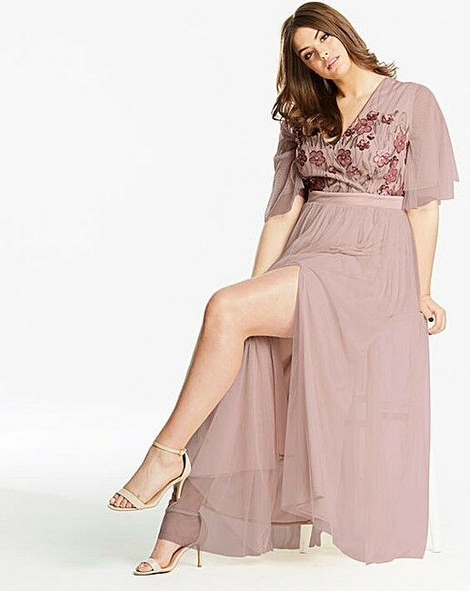 Little Mistress Flower Embellished Maxi Dress Pink Size UK16 rrp  SA170 EE 01