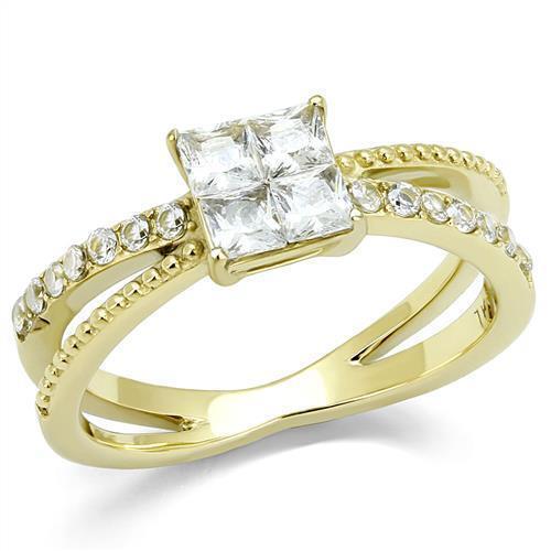 Princess Cut  AAA Grade Clear Cubic Zircon CZ Yellow Gold IP Women's Ring TK3181