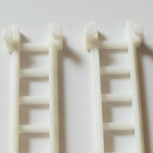 extension ladder 121 mm long Échelle 1:24 Livré Comme Ensemble de 2. 3D Imprimé ARGENT