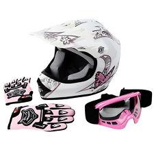 New DOT Youth Pink Butterfly Dirt Bike Atv Mx Helmet Motocross Goggles+gloves L