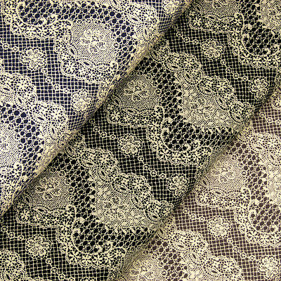 Cotton Fabric FQ Retro Cream Flower Lace Print Dress Quilting LuckyFabrics VK19