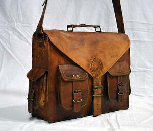 Image Is Loading Mens Vintage Leather Satchel Messenger Man Handbag Business