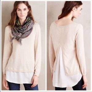 Anthropologie-Angel-of-the-North-Layered-duet-pullover-sweater-cream-Size-XS