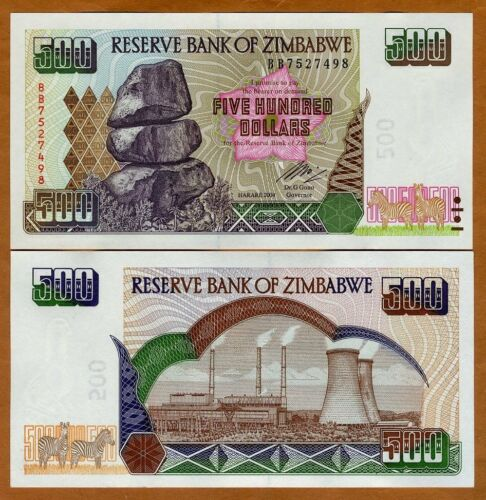 2004 Zimbabwe UNC /> Power Plant P-11b 500 dollars