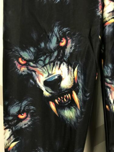 Halloween Leggings S-XL Demonic Wolves With Fangs Black Bckground FREE SHIPPING!