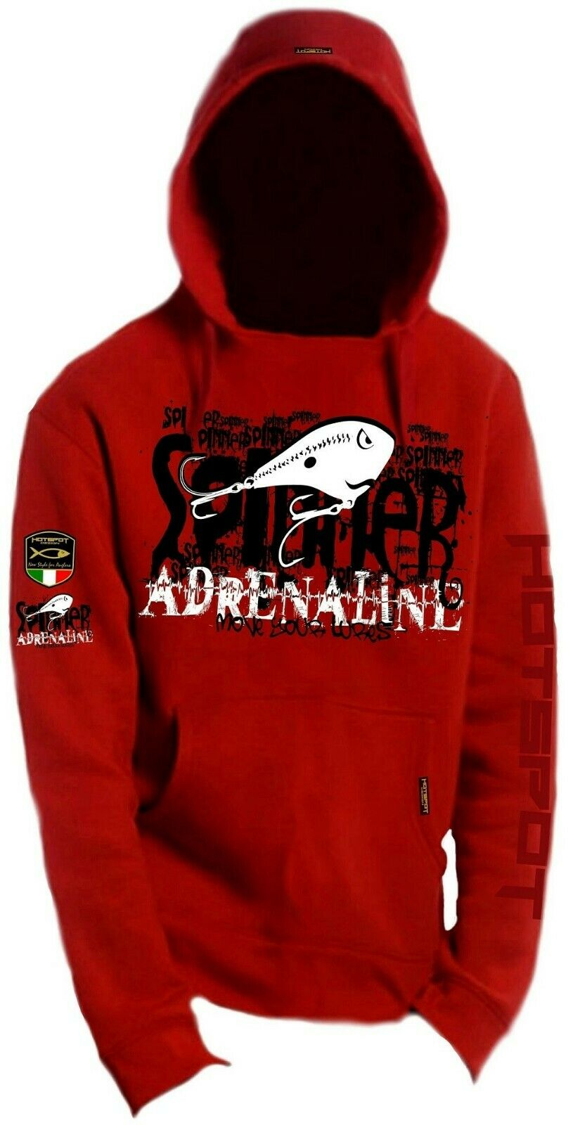 Hotspot Design Angler Kapuzen Hoody  Adrenaline , red,  F-SPIN-00  a lot of concessions