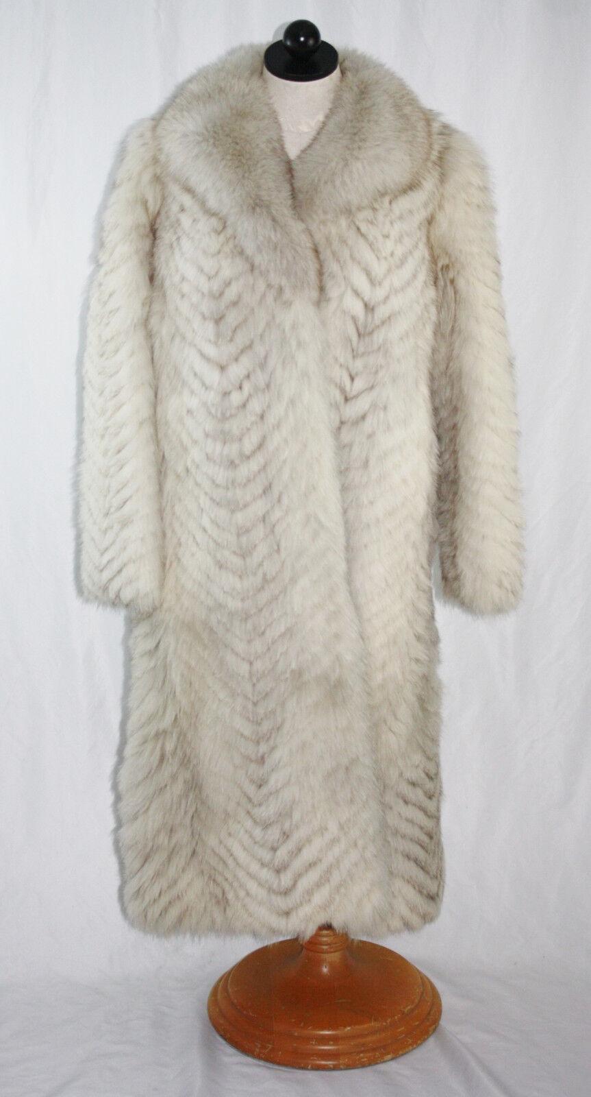 Damas Abrigo Azul Hermoso Longitud  Completa De Piel De Zorro Talla 10 (40)  Tienda de moda y compras online.