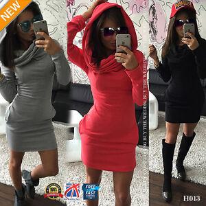 UK-WOMENS-HOODED-SWEATSHIRT-LADIES-BODYCON-T-SHIRE-JUMPER-DRESS-SIZE-6-14-H013