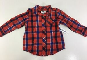 a620c544b7bf5 OLD NAVY TODDLER BOYS PLAID LONG SLEEVE SHIRT RED ORANGE NAVY 3T NWT ...
