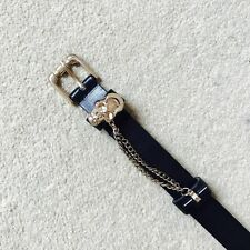 Black Jeans Belt With Gold Skull Chain. Size UK S/M.