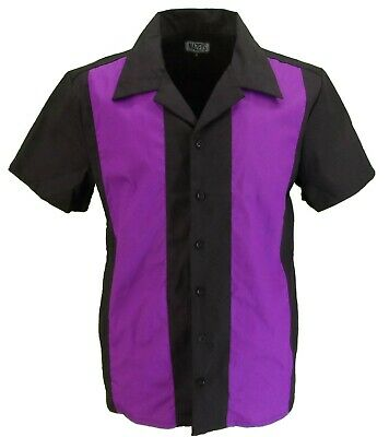 Retro Purple Black Rockabilly Bowling Shirts