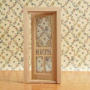 1-12-Scale-Dollhouse-Miniatures-Wood-Plain-hollow-screen-door-decors