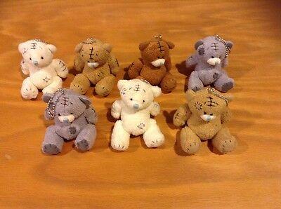 NWOT 7 Little White/Grey/Brown Teddy Bear Plush Toy Keychains LOT