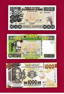 GUINEA-REPUBLIQUE-OF-AFRICA-UNC-NOTES-100-500-amp-1-000-Francs-Guineans