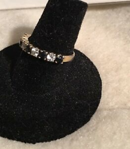 Estate-Sale-Clasi-Vermeil-Sterling-Silver-925-Black-Spinel-CZ-Band-Ring-sz-7-5