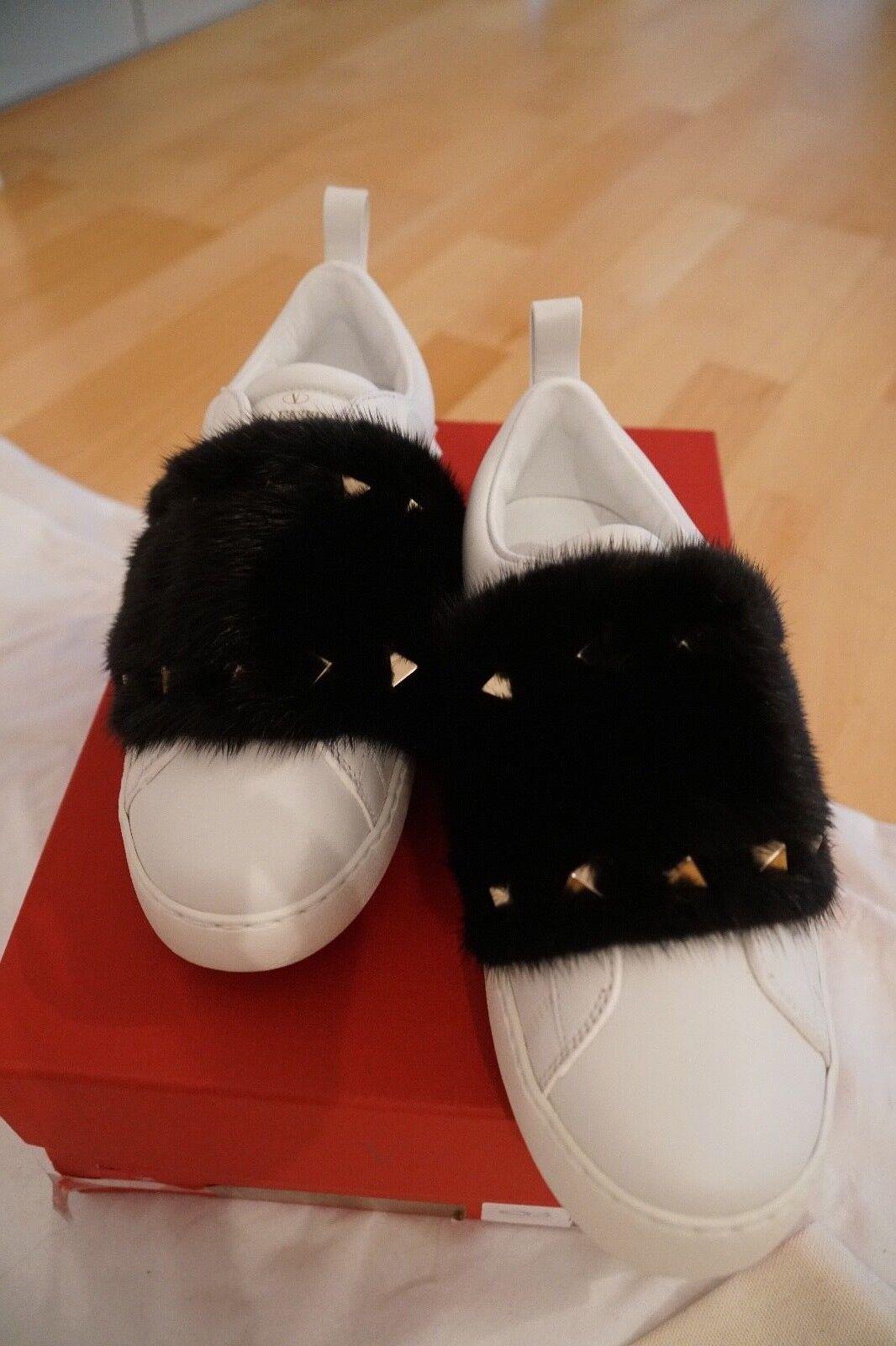 Original Valentino Sneaker Turnschuhe Nerz weiss Garavani Rockstud Luxus Leder