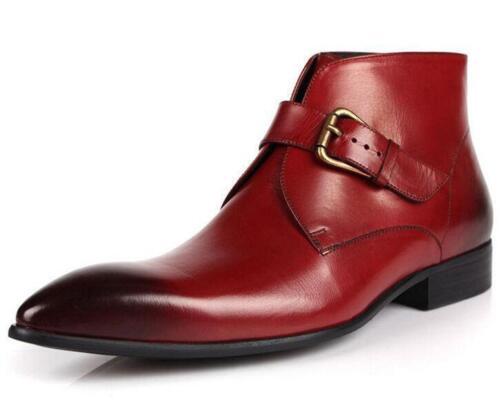 estilo Toe botas de formal cortas de Mens Point vestido hebilla zapatos británico cuero tobillo pYWHHq