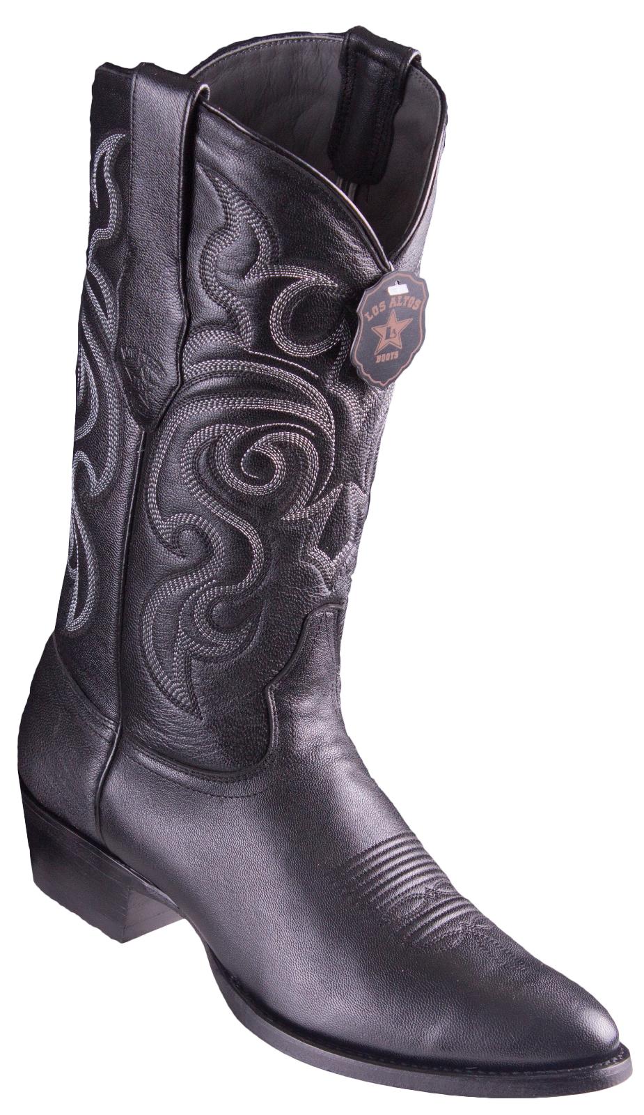 Men's Los Altos Genuine Goat Leather Western Cowboy stivali Round Toe Handmade