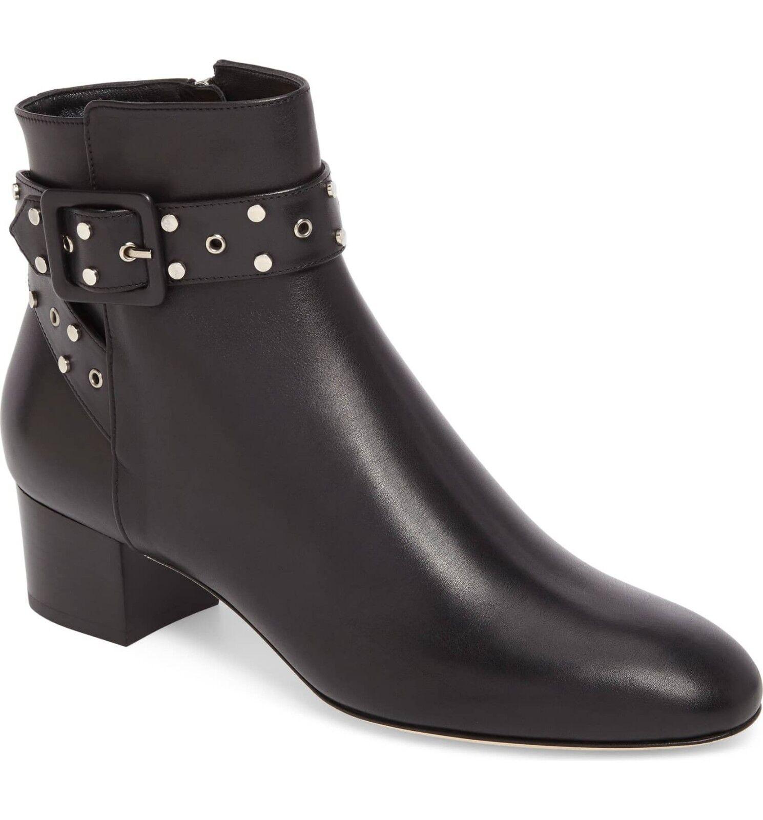 ventas en linea Jimmy Jimmy Jimmy Choo Hallie Hebilla Botines Negro con Tachuelas Botines de Piel 40 Zapato  tienda en linea