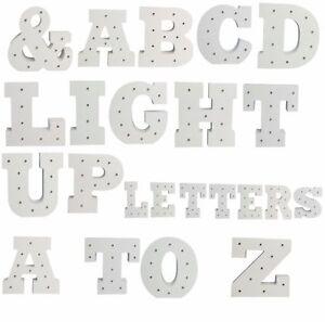 A-Z-in-Legno-Alfabeto-Lettera-LED-accendere-Lettere-Bianco-in-piedi-0-9-Numeri