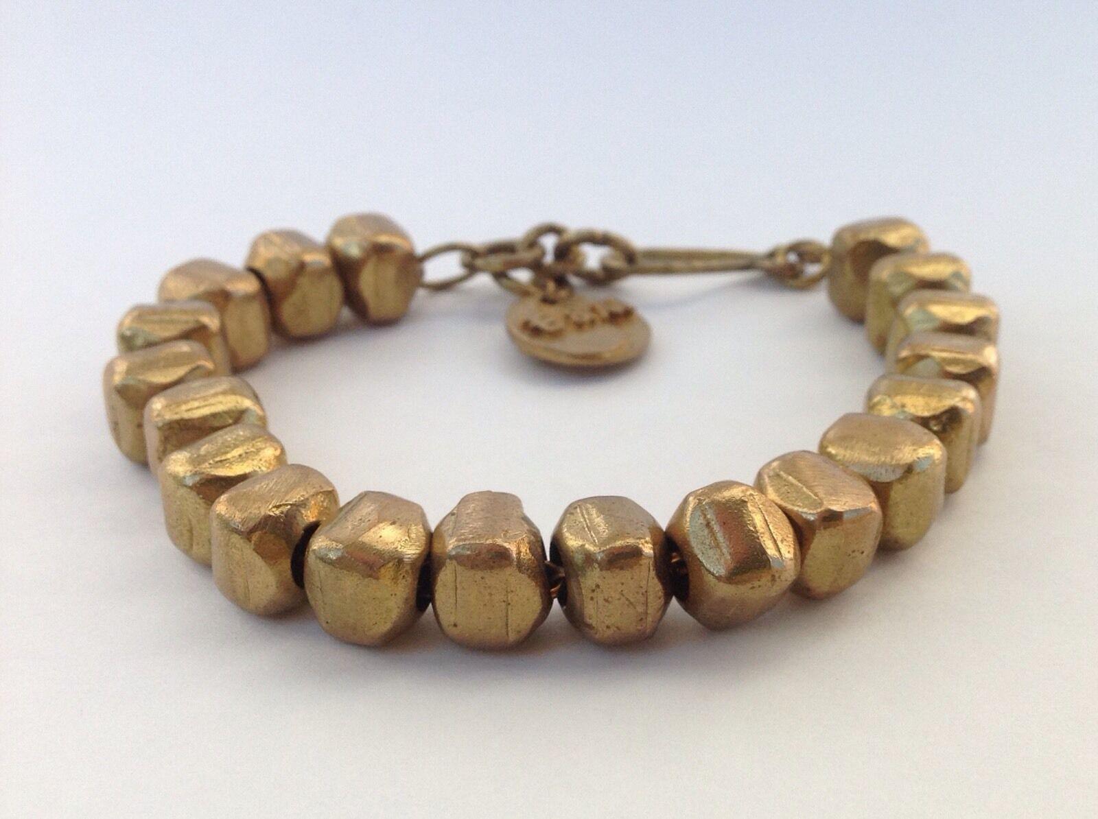 Heavy Bold Bronze Square Beads On Chain Designer bracelet Signed LIBIDO E&M