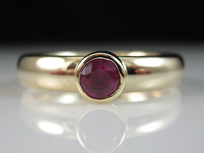 14K Ruby Ring Solitaire Comfort Fit Yellow Gold Fine Jewelry Bezel Size 6.5