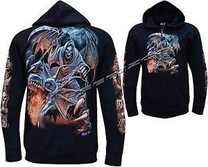 New Grim Reaper Glow In The Dark Dragon Skull Axe Zip Zipped Hoodie Hoody Jacket