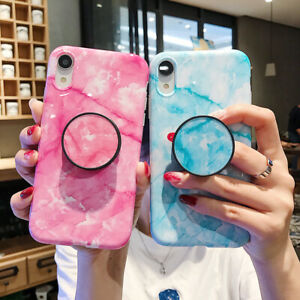 Marble Case With Stand Holder Phone For Iphone 8 Xs Max Xr Cases Socket Relief Ebay