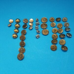 Vintage-Lot-of-40-Metal-Picture-Solid-Buttons-Tinted-Brass-Various-Sizes