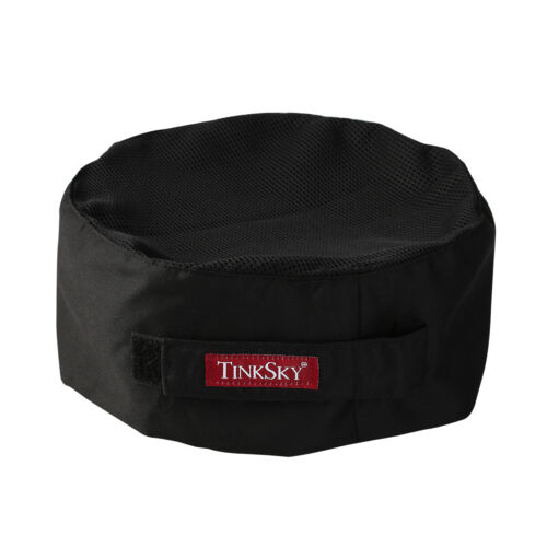 Black TINKSKY Mesh Top Adjustable Strap Chefs Hat One Size Catering Skull Cap