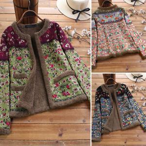 ZANZEA Femme Manteau Veste Imprimé floral Couture Manche Longue Chaud Hiver Plus