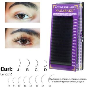 Details about Mink Hair False Eyelashes C/D Curl Lash Grafting Extension  Individual Lashes