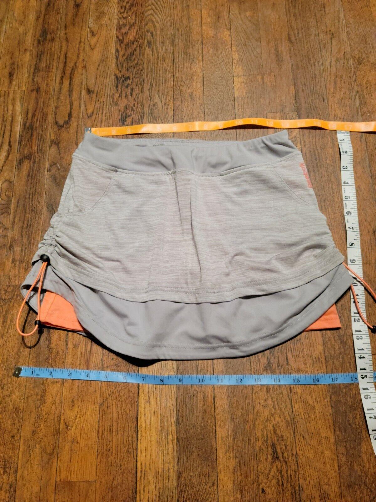Reebok Women's Running Skort Gray & Neon Orange Sz S dual 2 layers paracord