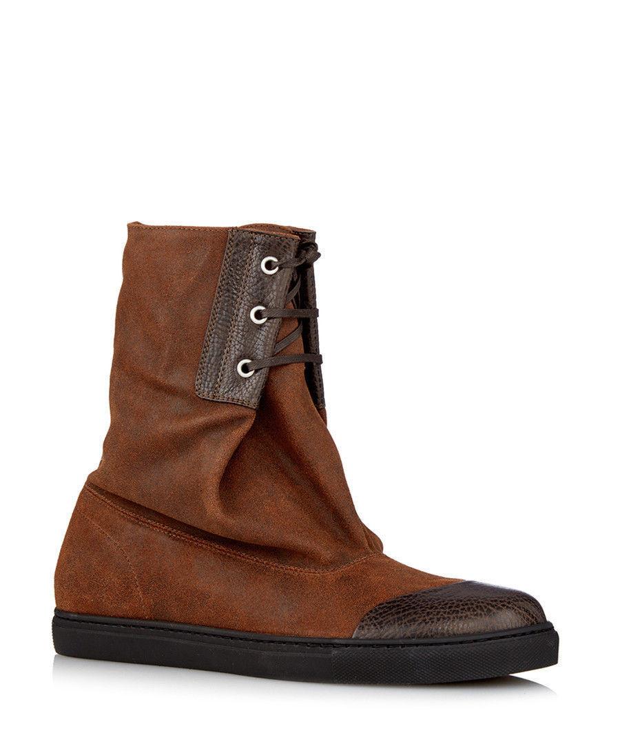 VIVIENNE WESTWOOD marrone in pelle scamosciata Sacco Scarpe Stivali Morbidi alla Caviglia UK7 EU41 US8 NUOVO CON SCATOLA