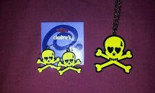 skull and cross bones necklace and matching earrings in punky yellow