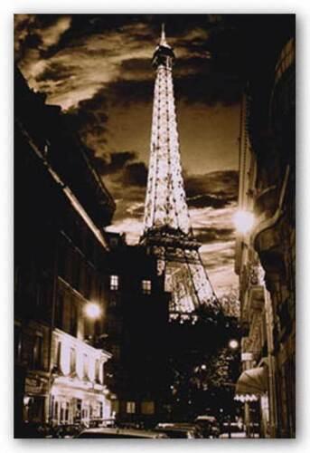 TRAVEL POSTER Paris at Night Eiffel Tower