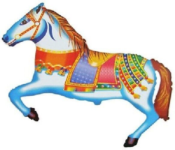 """HORSE PONY 39"""" CAROUSEL Merry Go Round CIRCUS Carnival Party MYLAR Foil Balloon"""