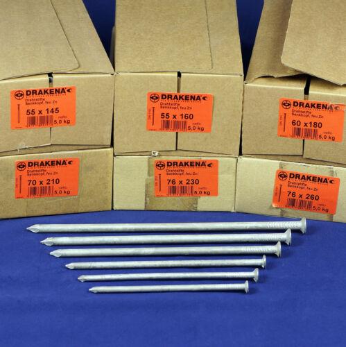 4,59 €//kg //Cabrio-clavos 5 kg alambre lápices fuego galvanizado 210 230 260 mm senkkopf