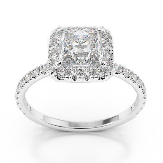 14K White gold Princess Cut 1.27 Ct VVS1 Diamond Engagement Ring Size 6 6.5 7 8