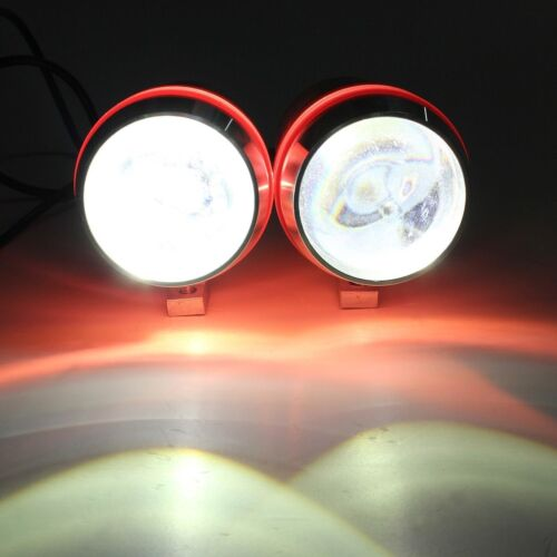 2x 30W U3 LED HeadLight Spot Fog Light Red Angel Eye Motorcycle Chrome ATV