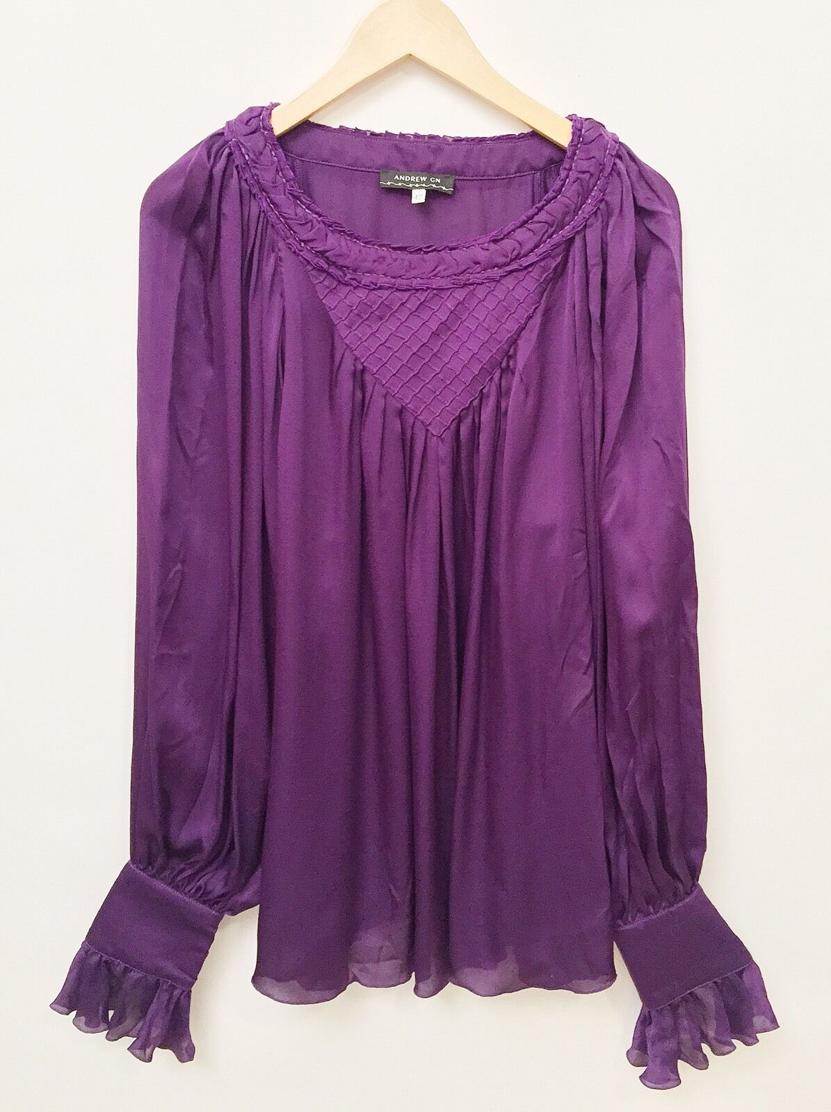 Andrew GN Purple Silk Long Sleeve Blouse Size 42