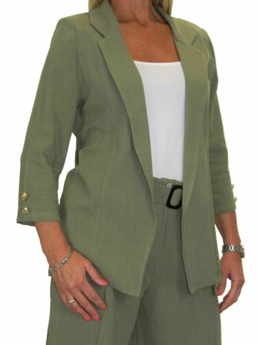 Ladies Open Front Soft Linen Lightweight Jacket 10-22