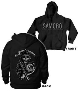 sons of anarchy samcro zip up hoodie new ebay. Black Bedroom Furniture Sets. Home Design Ideas