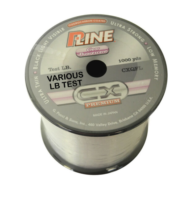 ed8bfe89c42 P-Line Cx Premium Clear Fluorescent Fishing Line 1000 Yards Select Lb Test
